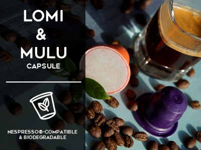 Mix of Lomi and Mulu Nespresso compatible biodegradable capsules