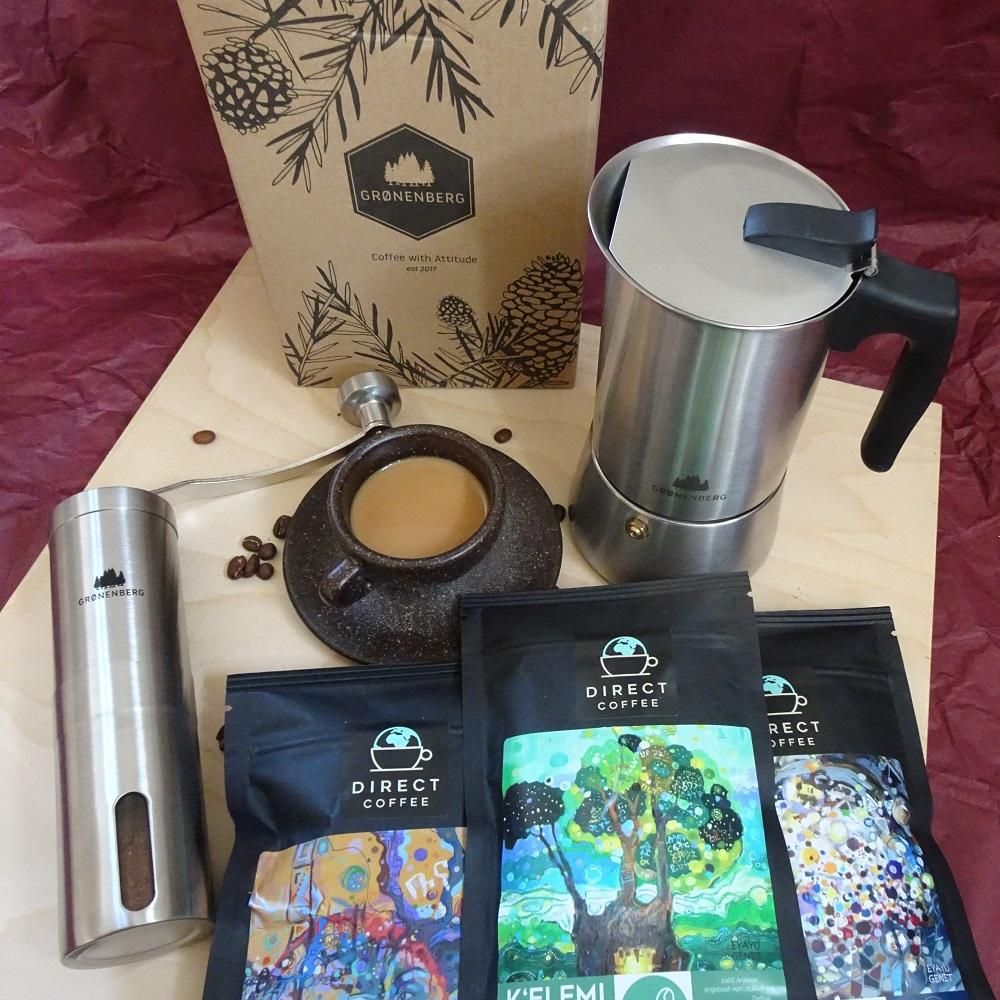 Image produit Cadeau: café en grain, moulin & cafetière