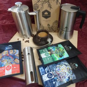 Cadeau: café en grain, moulin, cafetière et french press