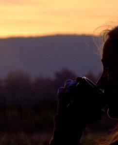Kaffee beim Sonnenaufgang